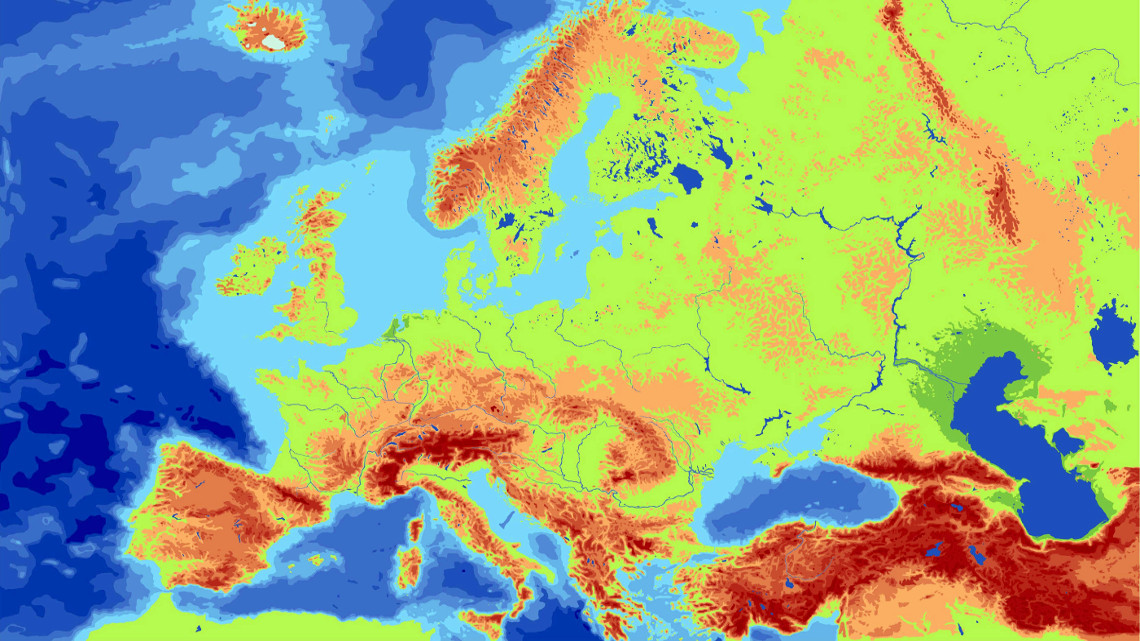 Фізична карта Європи