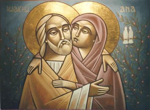 Святі праведні Йоаким і Анна. Коптьска ікона, фрагмент.