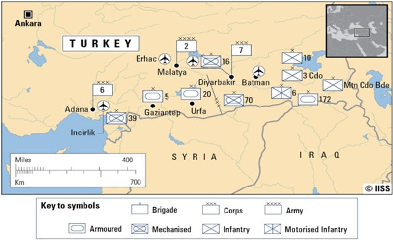 Расположение турецких войск возле границы с Сирией