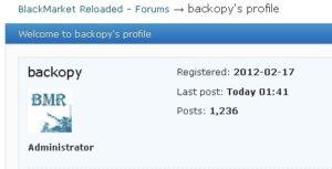 Профіль засновника сайту Black Market Reloaded.